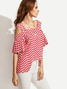 SheIn offers Red Striped Cold Shoulder Blouse & more to fit your fashionable needs. Fast Fashion, Womens Fashion, Hollywood Girls, Modelos Fashion, Cold Shoulder Blouse, Urban Chic, Blouse Online, Red Stripes, Ladies Dress Design