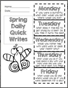 Free Spring Quick Write Foldable!  Fun Prompts!