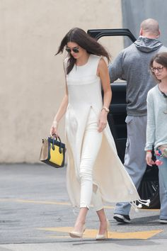 In The Row while out in Los Angeles.   - ELLE.com Kendall Jenner in all ivory