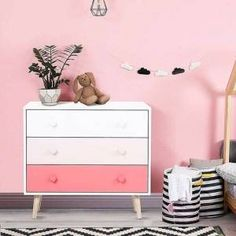 Isabelle & Max Bring a splash of beautiful colour into your child's bedroom with this chest of drawers. It features drawers with heart and star-shaped handles, giving them plenty of room to keep clothing, toys, books, games and everything else stored neatly and tidily. It is a great way for your child to 3 Drawer Chest, Chest Of Drawers, Pink Storage Cabinets, Beautiful Home Gardens, Large Drawers, Dresser With Mirror, Girls Bedroom, Bedroom Ideas, Bedrooms