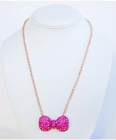 Pavé Crystal Bow Necklace