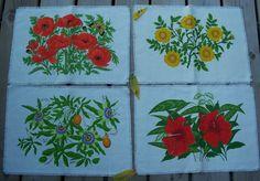 Vintage set of Four Floral / Flowered by MargsMostlyVintage, $10.00