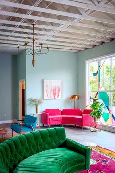 Emerald Sofa | Eclectic Style | Living Room | Jewel Tones | Color Trend | Home Decor | Interior Design