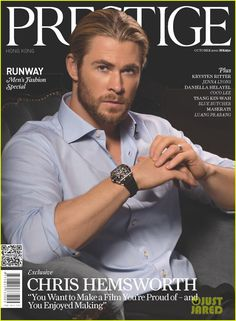 Chris Hemsworth Covers 'Prestige' October 2012   How is this man not playing Christian grey??!!