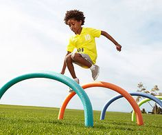 Get your child excited for the Olympics with these inexpensive pool noodles serving as a hoops course! Great for races, croquet, and more!