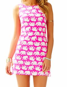 Perfect Lily Pulitzer. Fun elephant print on a classic shift dress.