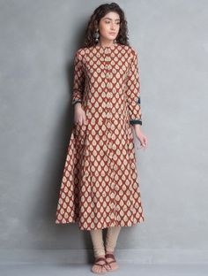 Red-Beige Bagru Printed Kalidar Cotton Kurta
