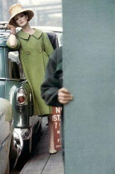 Fashion shot by Saul Leiter for Harper's Bazaar, February 1959.
