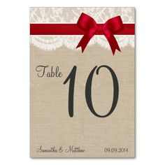 Ivory Lace & Red Bow, Burlap Table Numbers