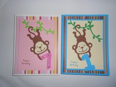 Cute monkey birthday cards using Create a Critter 2