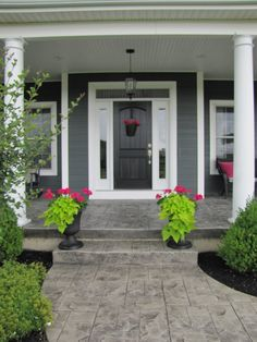 Trendy Front Door Colors With Tan House White Trim Gray Siding Concrete Front Porch, Front Walkway, Concrete Patios, Front Door Entrance, Front Door Colors, Front Entrances, House Entrance, Stamped Concrete Walkway, Entrance Ideas