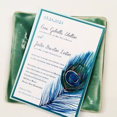 Peacock Wedding Invitations by Eleven Eleven Pixel, www.elevenelevenpixel.com