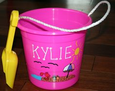 Personalized Kid's Beach Pail with Shovel by everafterdesign6