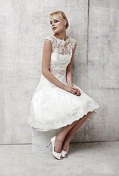 Sleeveless Lace Wedding Dress Knee-Length Sexy Bridal Gown Custom Size White New
