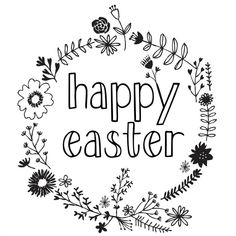 a simple easter printable {can be left black and white or colored like a coloring page}