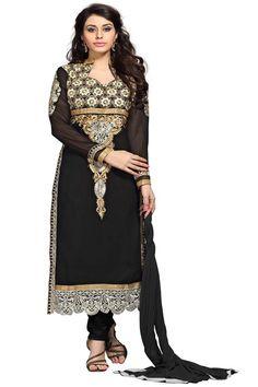 Black Jacquard Party Wear Salwar Kameez with Dupatta