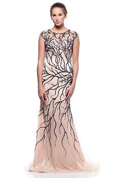 98c5fbc230a1 Lace style leaf applique open back evening gown. Feature Lace Applique  detailing Mermaid Style Open