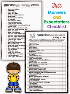 Free classroom expectations and manners check list and rating scale in both color and black and white via Clever Classroom's blog.