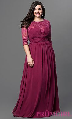 Long Three Quarter Length Sleeve Dress with Lace Embellishments at PromGirl.com