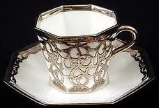 Antique Wedgwood Silver Overlay Tea Cup & Saucer
