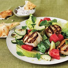 Grilled Scallop Salad - Quick and Easy Fish and Shellfish Recipes for Dinner Tonight - Cooking Light Mobile Shellfish Recipes, Seafood Recipes, Cooking Recipes, Healthy Recipes, Grilled Recipes, Skinny Recipes, Healthy Foods, Pureed Recipes, Pureed Food