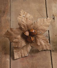 This Tan Large Burlap Poinsettia Décor is perfect! #zulilyfinds