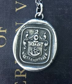 Stand Sure, English heraldry wax seal impression. Modern Jewelry, Unique Jewelry, Antique Wax, Wax Seal Stamp, String Bag, Family Crest, Skull And Crossbones, Wax Seals, Other Accessories