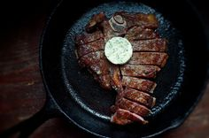 You want to cook the best damn cast iron steak your mouth can handle?  Look no further.  This is a recipe I've adapted and altered myself based on different cuts of meat but the basis remains the same.  Cook your next steak using the Alton Brown cast iron steak recipe.  It'll create a nice seared outside and an extremely juicy and delicious inside. Alton Brown's Pan Seared Steak Ingredients (1 serving) 1 1/2 inch thick rib eye or New York strip steak Olive oil Kosher salt and fresh groun...