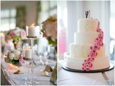 white layered cake with pink roses   Bredenbeck's bakery   ashley bartoletti photography