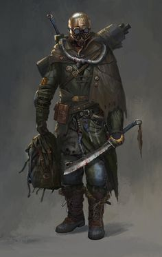 Rogue soldier - by lian zhen wei Post Apocalypse, Apocalypse World, Cthulhu, Character Concept, Character Art, Concept Art, Rpg Star Wars, Apocalypse Character, Post Apocalyptic Art