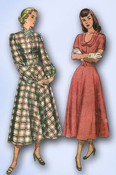 1940s Vintage Simplicity Sewing Pattern 2523 Uncut MIsses Day Dress Size 18 36B