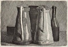 Giorgio Morandi. I am actually not a big fan of most of his work. This is the best I found because at least you can see the light and shadow around the objects.