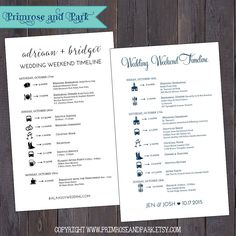 Wedding weekend timeline itineraries are great for letting guests know where to be and when. Great for including in your hotel welcome bag or box