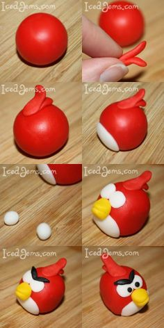 Another simpler angry bird (red) fondant tutorial Fondant Icing, Fondant Toppers, Fondant Cakes, Cupcake Cakes, Car Cakes, Chocolate Fondant, Modeling Chocolate, Mini Cakes, Cupcake Toppers