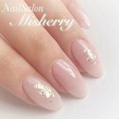 Simple nude nails with gold