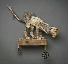 """ZELUS"" (Wall Sculpture) Geoffrey Gorman Wood, cloth, metal, found objects x… Found Object Art, Found Art, Mixed Media Sculpture, Sculpture Art, Arte Popular, Assemblage Art, Animal Sculptures, Recycled Art, Monet"