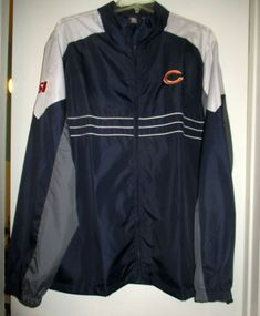 64642bc6f Details about CHICAGO BEARS NFL TEAM APPAREL REEBOK Windbreaker Jacket