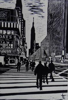 New-York - Linocut, Geraldine Theurot, Print