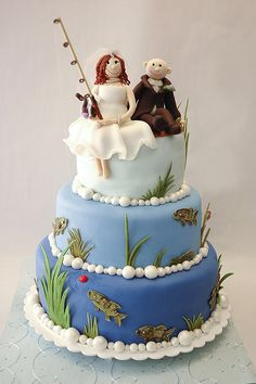 fishing theme wedding cake by thelushcake, via Flickr - But with LEGO people on top instead!