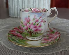 "Vintage Royal Albert Fine Bone China Teacup  Saucer ""Blossom Time."""