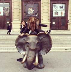 Christina Perri on an elephant
