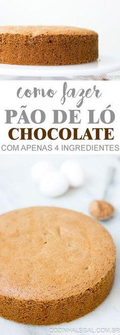 Essa receita de pão de ló de chocolate com 4 ingredientes é tão fácil de fazer e fica tão fofa que você vai abandonar completamente todas as outras receitas que fez até agora. | cozinhalegal.com.br