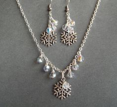 Snowflake Necklace   Swarovski Crystal Beads & Earrings  Winter Wedding Jewelry  Gift Idea. $21.50, via Etsy.