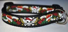 Tattoo Skulls Dog Collar / Tattoo / Life Love Luck by 3pooches