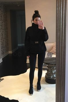 Kylie Jenner wearing Adidas Tubular Defiant Sneakers , Supreme Fleece Pullover, October's Very Own 1-800-Hotlinebling Iphone Case