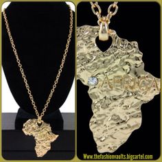 Totally in love with this gold Africa necklace. With it's stunning diamond and length this piece compliments maxi style dresses perfectly. Only $8 available online now! #diamond #gold #necklace #chain #africa #sexy #black #beauty #style #fashion #trendy #chic #cute #jewelry #shop #shopaholic #thefashionvaults #boutique #elpaso #texas
