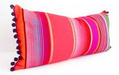 Tribal Pillow/Aztec/Mexican/Boho Chic Decor - Red Throw/Lumbar Cushion - Purple-Red-Black-Orange-Green & White w' Purple Pom Pom Trim - x by 'CityGirlsDecor' on Etsy★♥★ Home Goods Decor, Diy Home Decor, Bolster Pillow, Throw Pillows, Red Throw, Fiesta Decorations, Home Comforts, Global Design, Scatter Cushions