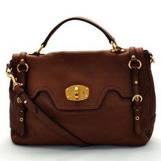 Auth MIUMIU Handbag Brown Leather - 24633 #MIUMIU #Handbag