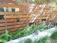 Modern Privacy Fence Modern Landscaping Landscaping Network Calimesa, CA Fence Landscaping, Backyard Fences, Garden Fencing, Modern Landscaping, Landscaping Software, Concrete Fence, Bamboo Fence, Gabion Fence, Brick Fence