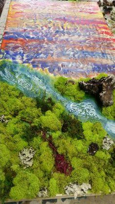Encaustic Painting by Michelle Carpenter #Detroitartist #mixedmedia #encaustic #abstraction #moss #artist #landscape #faeryworld #river #colors #closeup #detail